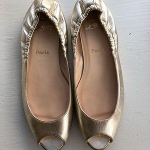 Christian Louboutin gold peep toe flats